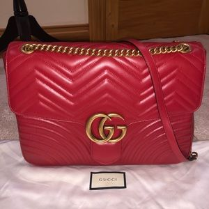 💯Gucci Red Jumbo Marmont bag